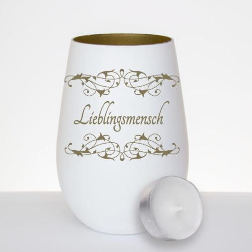 """Windlicht mit Gravur """"Lieblingsmensch"""" und Ornamenten - Motiv: WW-113"""