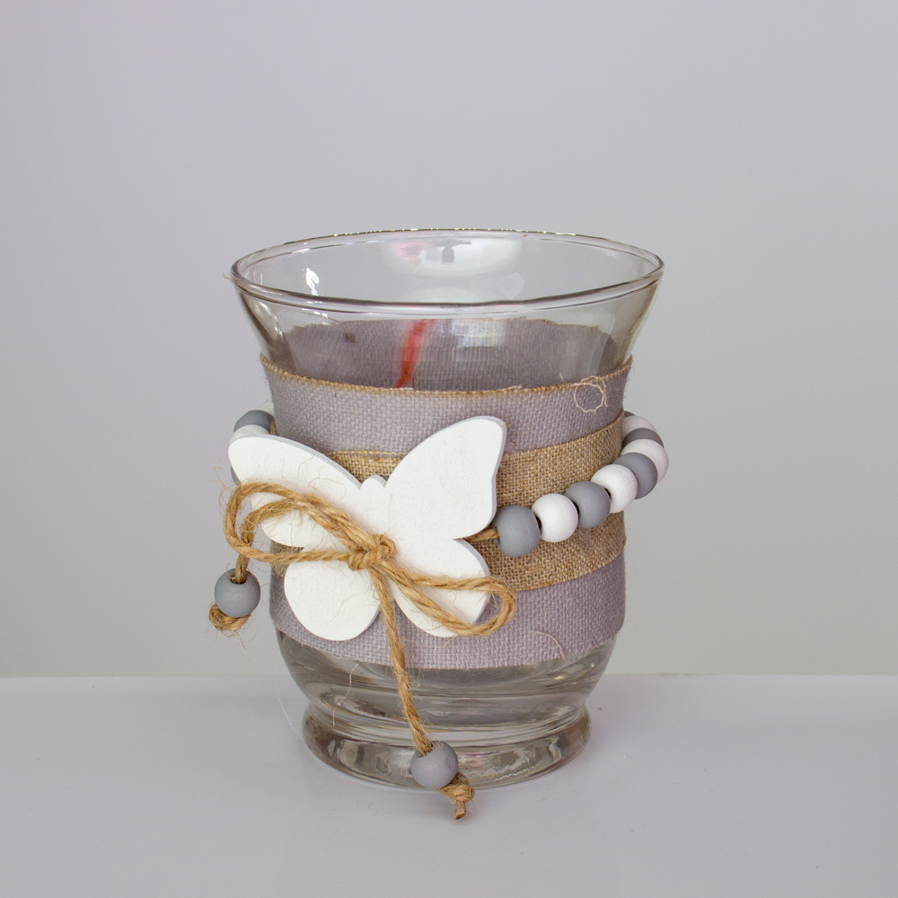 Windlicht Set 2 Teilig Aus Glas Mit Duftkerze Schmetterlinge