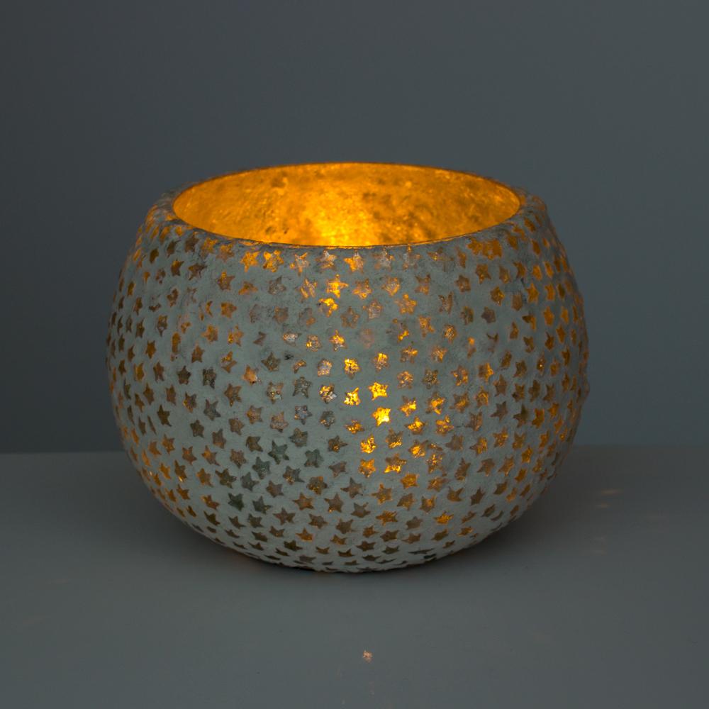 Windlicht Aus Glas Mit Mosaik Stern Deko Farbe Silber