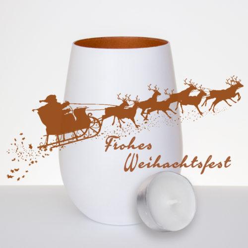 windlicht-weiss-bronze-mit-gravur-Weihnachtsmann--rentiere-frohes-weihnachtsfest-mit-teelicht