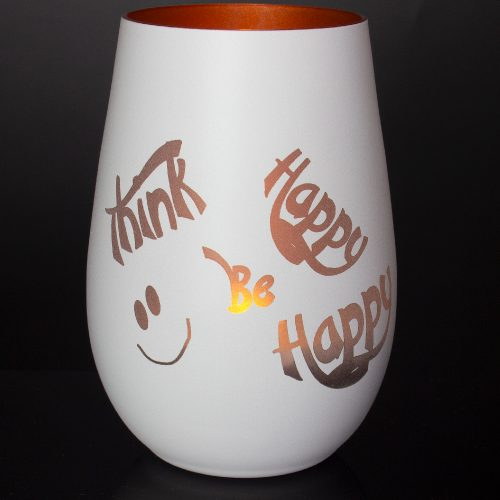 windlicht-weiss-bronze-mit-gravur-think-happy-be-happy-mit-teelicht