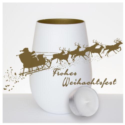 windlicht-weiss-gold-mit-gravur-Weihnachtsmann--rentiere-frohes-weihnachtsfest-mit-teelicht