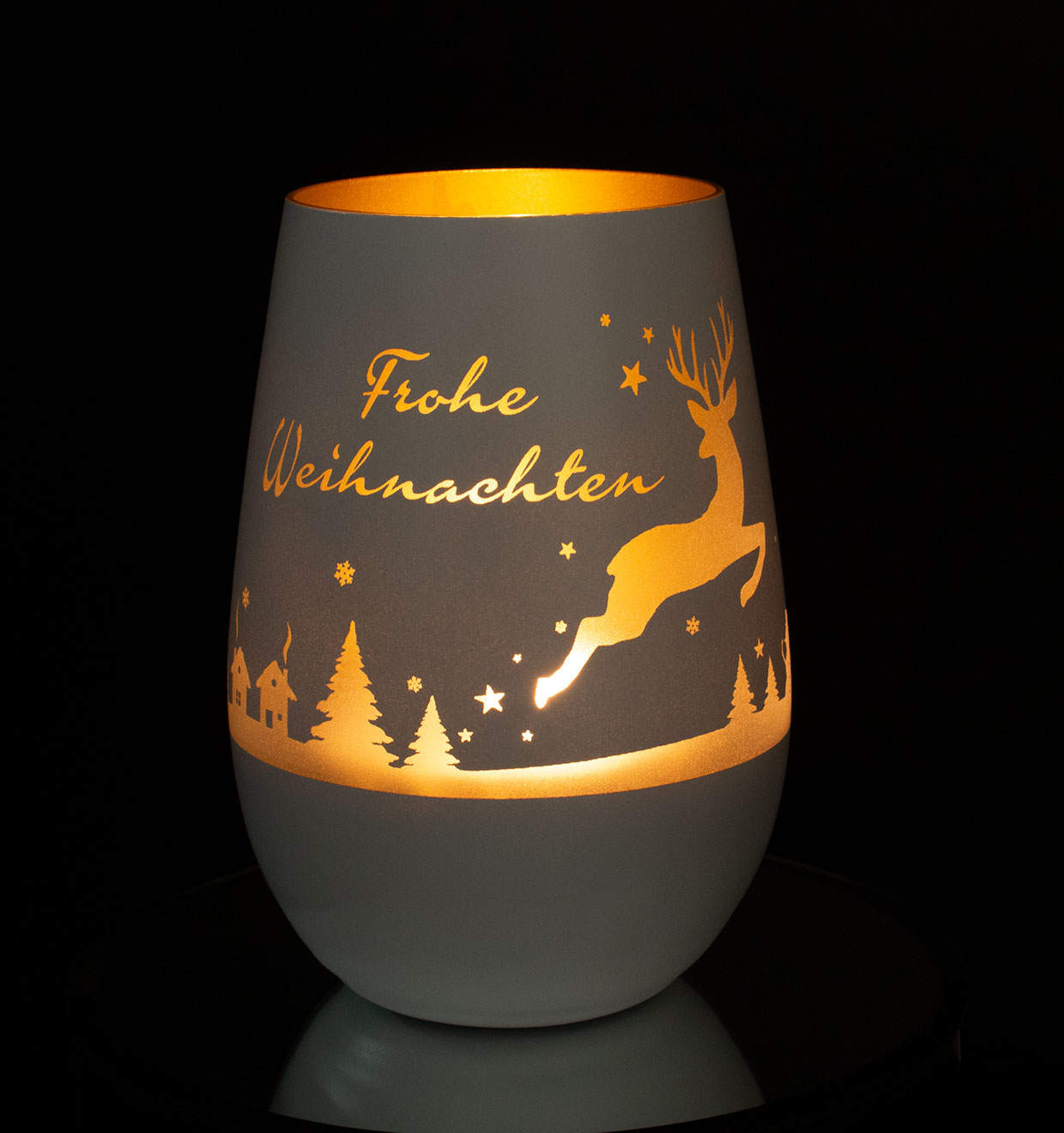 Windlicht Mit Gravur Springender Hirsch Und Frohe Weihnachten