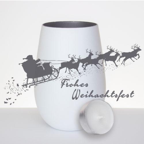 windlicht-weiss-silber-mit-gravur-Weihnachtsmann--rentiere-frohes-weihnachtsfest-mit-teelicht