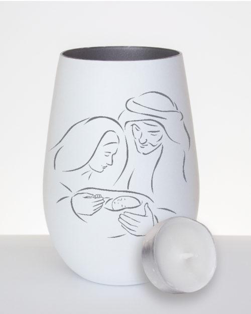 windlicht-weiss-silber-mit-gravur-jesus-maria-josef-mit-teelicht