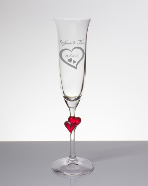 Sektglas mit Gravur - Herz mit Namen und Datum