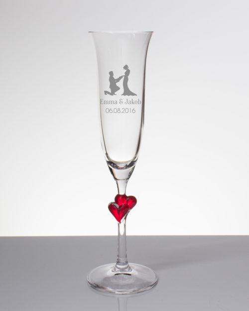 Sektglas mit Gravur - Brautpaar mit Namen und Datum
