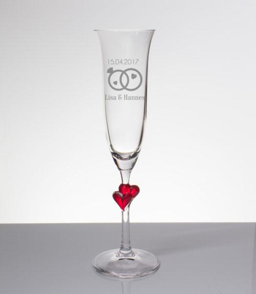 Sektglas mit Gravur - zwei Ringe mit Namen und Datum