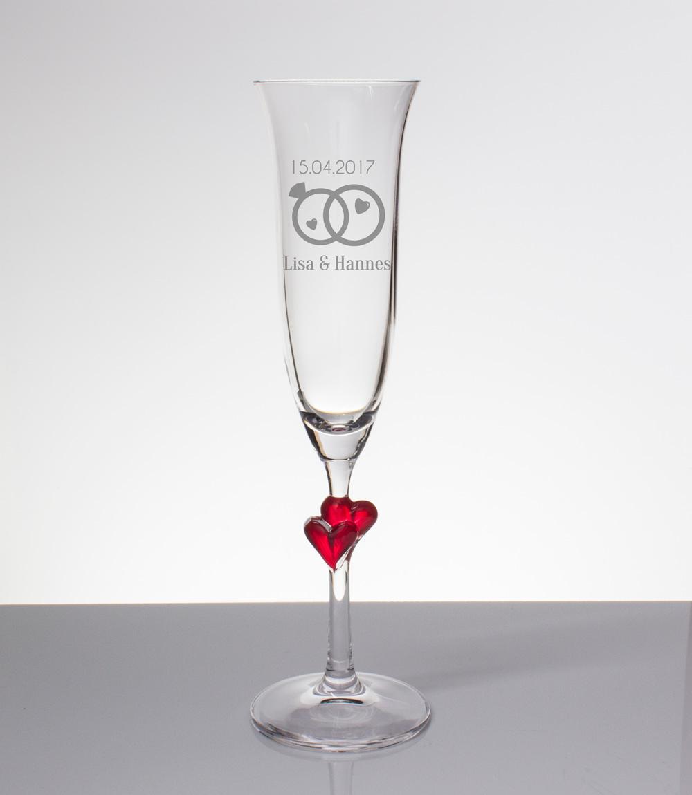 Sektglas Mit Gravur Zwei Ringe Mit Namen Und Datum Zur Hochzeit