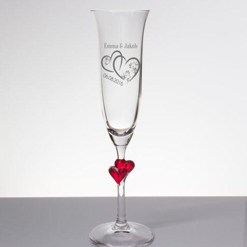 Sektglas mit Gravur - verschlungene Herzen mit Namen und Datum