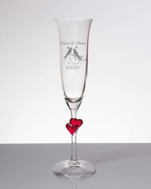 Sektglas mit Gravur - zwei Turteltauben mit Namen und Datum