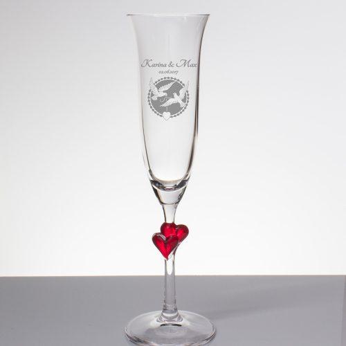 Sektglas mit Gravur - zwei Tauben und Herz mit Namen und Datum