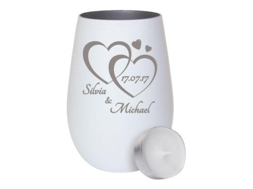 Weißes Windlicht aus Glas - innen silber mit individueller Gravur zur Hochzeit