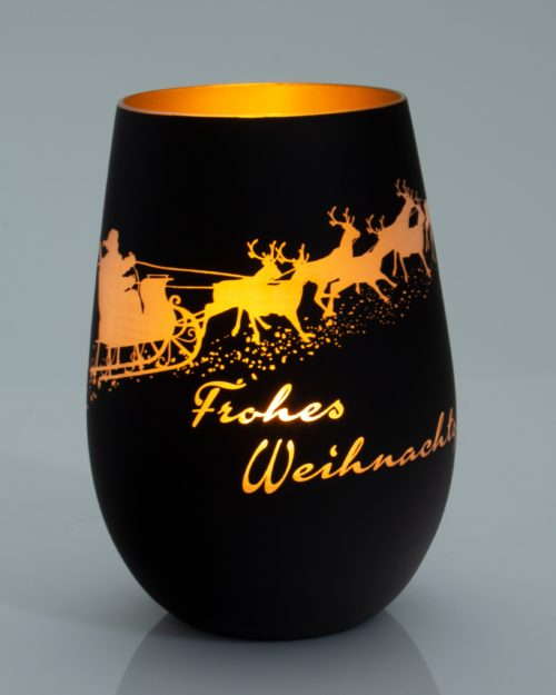 """Windlicht mattschwarz / gold mit Weihnachtsmotiv """"Schlitten mit Rentieren"""" und frohes Weihnachtsfest"""