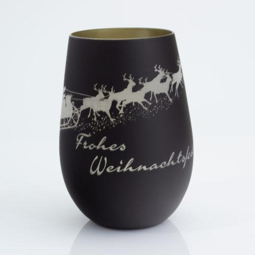 """Windlicht mattschwarz / gold mit Weihnachtsmotiv """"Schlitten mit Rentieren"""" und frohes Weihnachtsfest ohne Teelicht"""
