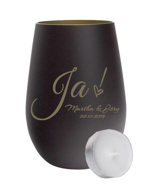 Windlicht mattschwarz / gold zur Hochzeit mit Gravur Ja! und Namen