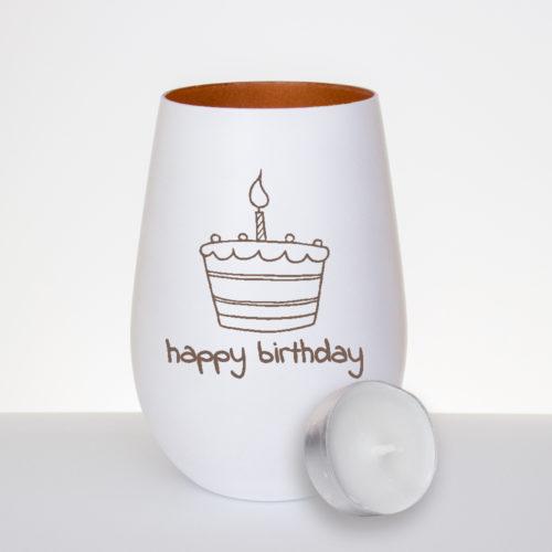 """Windlicht mattweiß / bronze zum Geburtstag mit Gravur """"Happy Birthday"""" und einer Torte mit Kerze"""