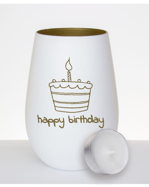"""Windlicht mattweiß / gold zum Geburtstag mit Gravur """"Happy Birthday"""" und einer Torte mit Kerze"""