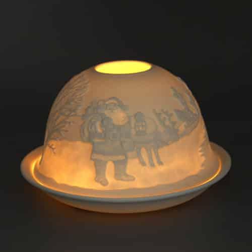 Windlicht aus Porzellan Motiv: Weihnachtsmann