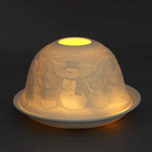 Windlicht aus Porzellan Motiv: Schneemann