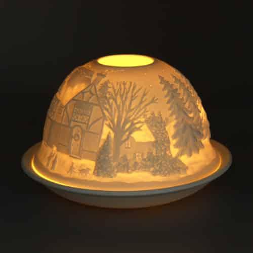 Windlicht aus Porzellan Motiv: Wald